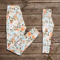 Fashionable Flower print Matching Leggings for Mommy and Daughter