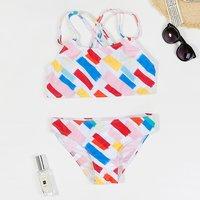 2-piece Colorful Scrawls Print Swimwear