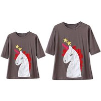 Mommy and Me Lovely Unicorn Half-sleeves Tee