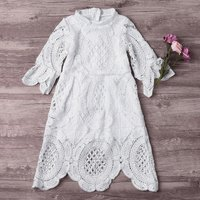 Flare Sleeve Hollow Out Lace Dress in White