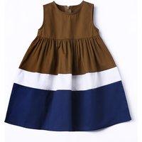 Latest Contrast Stripes Sleeveless Dress for Toddler Girl
