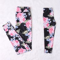 Pretty Floral Printed Yoga Leggings in Black for Mommy and Me