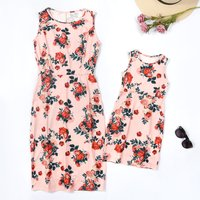 Fresh Floral Print Dress for Mom and Me