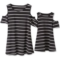 Mommy and Me Pretty Open Shoulder Striped Dress