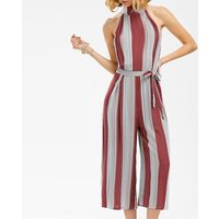 Sexy Red Striped Sleeveless Loose Jumpsuit with Belt