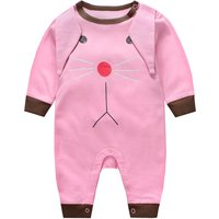 Baby's Fun Bunny Design Long Sleeves Jumpsuit in Pink