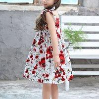 Pretty Flower Print Bowknot Sleeveless Princess Dress