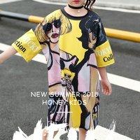 Stylish Girls Scrawl Print Short Sleeves Longline Dress