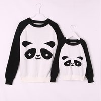 Mommy and Me cute panda printed Long Sleeve T-shirt