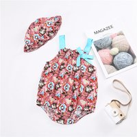Pretty Floral Strap Romper with Hat Set for Baby and Toddler Girl