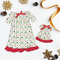 Polka Dots Christmas Dress Girl and Doll
