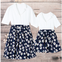 Sweet Floral Short-sleeve Matching Dress for Mom and Me