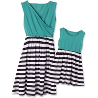 Mommy and Me Chic V-neck Striped Matching Dress in Green