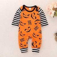Happy Halloween Pumpkin Print Jumpsuit