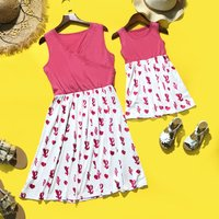 Mommy and Me Chic V-neck Cactus Printed Matching Dress in Pink