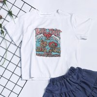 Stylish Toy Letters Print Short Sleeves Tee