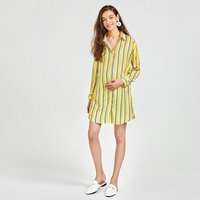 Vertical Stripe Maternity Blouse in Yellow