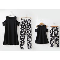 Mommy and Me Stylish Off-shoulder Top and Printed Leggings Set