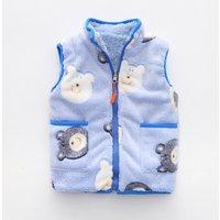 Cute Bear Panda Pattern Zip-up Plush Vest for Kids