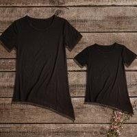 Mommy and Me Stylish Hi-low Solid Short-sleeves Tee