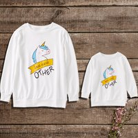 Mommy and Me Stylish Unicorn Pullover in White