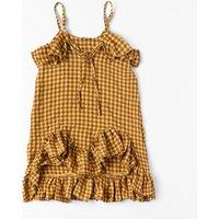 Stylish Plaid Irregular Ruffle Hem Sleeveless Dress for Girls