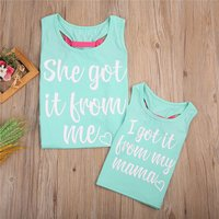 Mommy and Me Letter Printed Bowknot Tops in Green