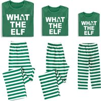 Letter Printed Tops Striped Pants Family Matching Sets