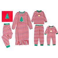 Christmas Tree Printed Tops and Striped Pants For Family