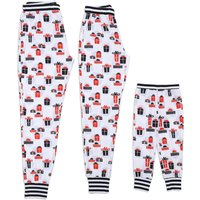 Red and White Funny Printed Family Pajamas Pants