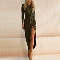 Elegant Round-collar Long-sleeve Dress with Belt For women