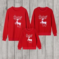 Christmas deer printed Long Sleeve T-shirts  For Family matching