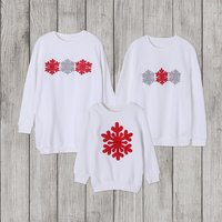 Beautiful  snowflake printed Long Sleeve T-shirt For Family matching