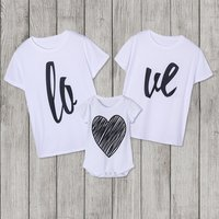 love printed Pretty Long Sleeve T-shirt For Family matching