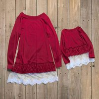 Lace-up dress with Bubble Hem Matching Dress in Red