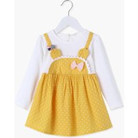 Faux-two Polka Dots Long-sleeve Dress for Baby and Toddler Girl