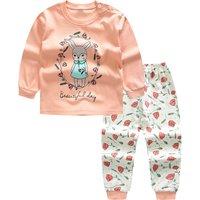 2-piece Beautiful Rabbit Girl Print Top and Floral Pants Set for Toddler Girl