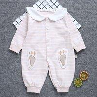 Footprint Applique Striped Jumpsuit