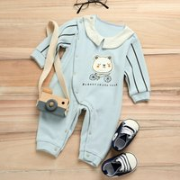 Bear Print Striped Long Sleeve Jumpsuit
