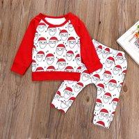 Joy Shining Santa Print Long-sleeve Top and Pants Christmas Outfits Set for Baby Girl