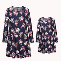 Christmas Long-sleeve  Blue Matching Dress
