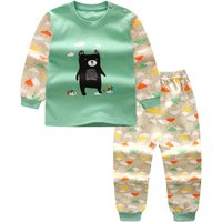 2-piece Cute Bear Print Top and Cloud Pattern Pants Set for Toddler Boy