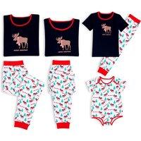 Family Matching Reindeer Printed Christmas Pajamas