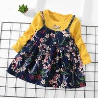 Faux-two Floral Dress