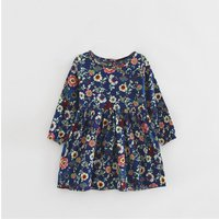 Latest Allover Long-sleeve Floral Dress in Navy for Autumn Look