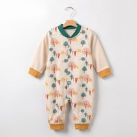 Trees Print Long Sleeve Daily Jumpsuit