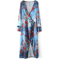 Dazzling Floral Long-sleeve Belted Kimono Cardigan For women