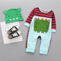 2-piece Striped Animals Print Long Sleeves Jumpsuit and Hat