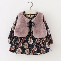 2 Pcs Plush Lined Floral Dress and Faux Fur Vest Set