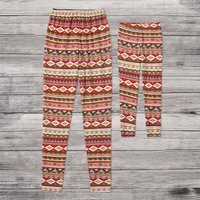 Christmas Red and Green Striped print Matching Leggings